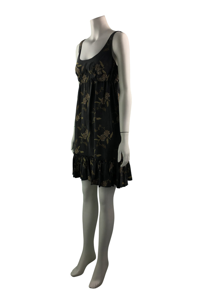Scanlan & Theodore Brown Embroided Ruffle Dress