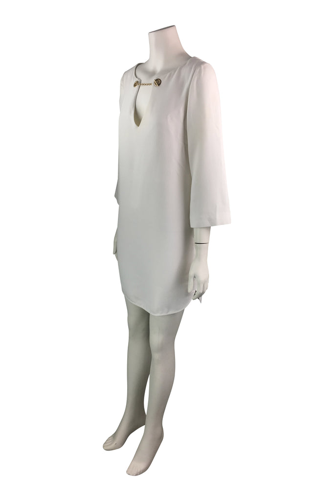 Emilio Pucci White Short Dress with Gold-Toned Chain