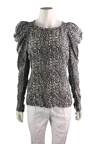 Silk leopard print long balloon sleeves blouse