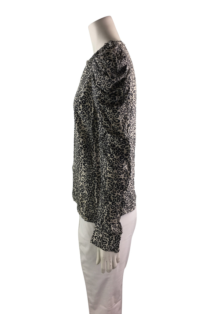 Maje Silk Leopard Print Long Balloon Sleeves Blouse