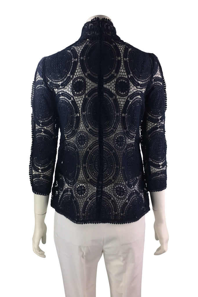 Ba&sh Navy Blue Lace Top