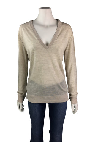 V-neck merinos jumper in cream