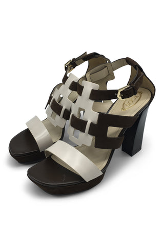 Two-tone two-leather sandals