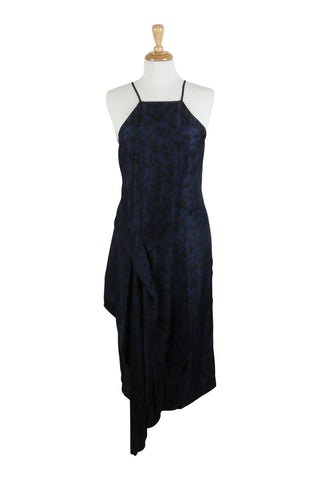 halterneck dress in navy