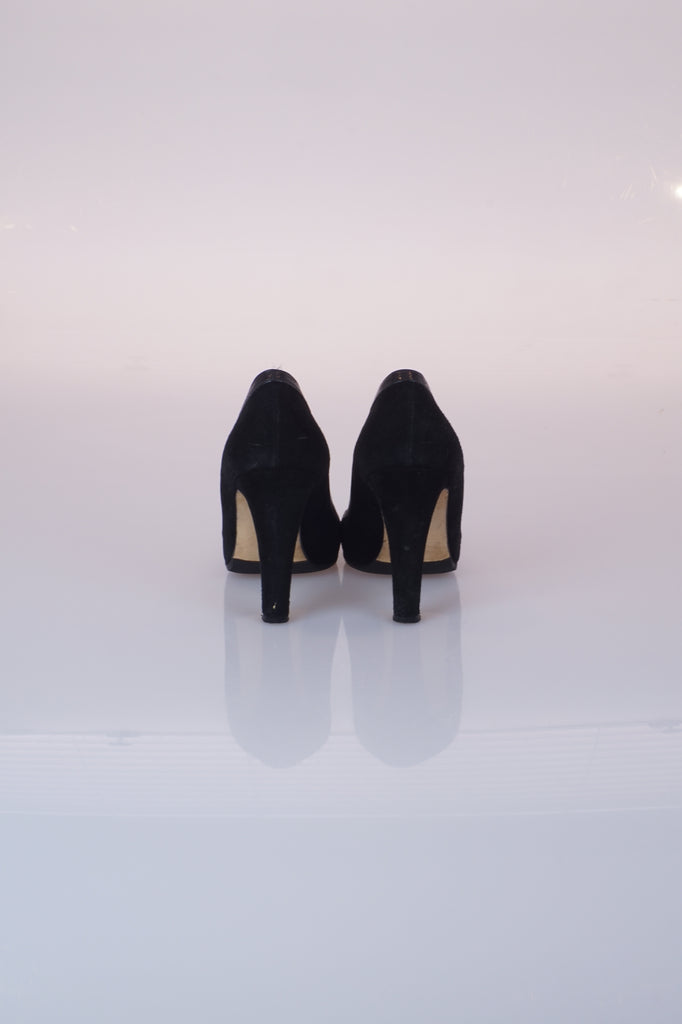 Manolo Blahnik Black suede and leather heels