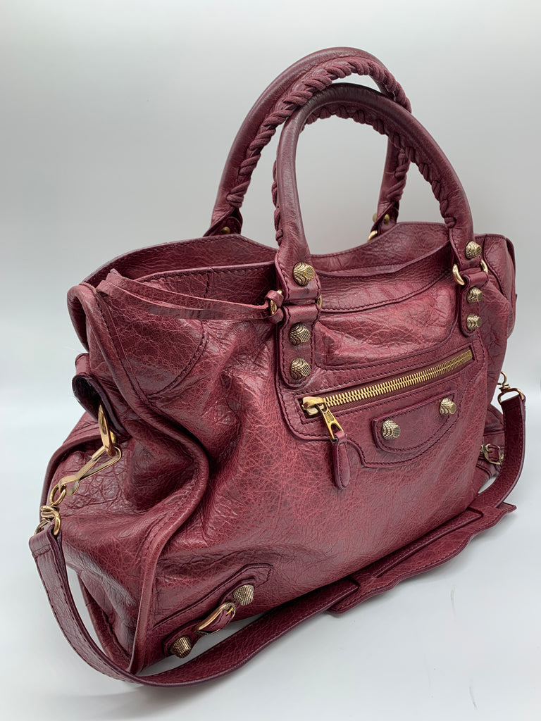 Balenciaga Small City Bag in Plum