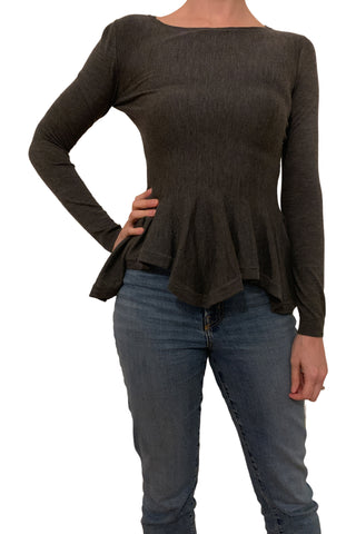 grey peplum knit top