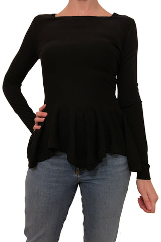 black knit peplum top