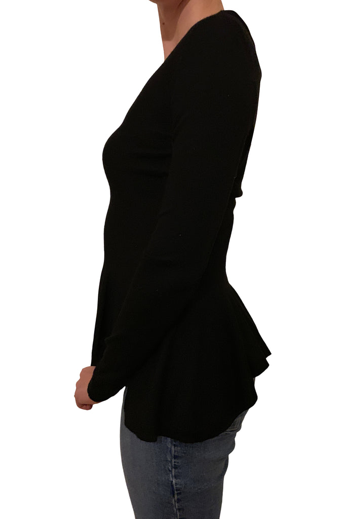 Alexander McQueen black knit peplum top