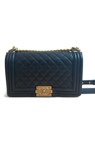 Large boy flap bag in black