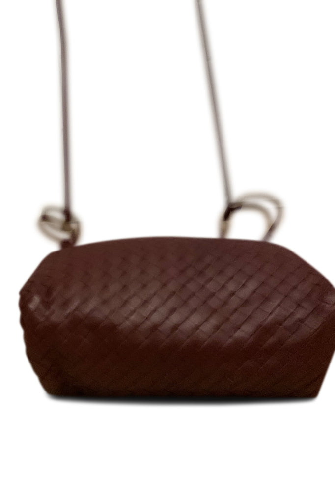Bottega Veneta Nodini Small Intrecciato Leather Shoulder Bag in Burgundy