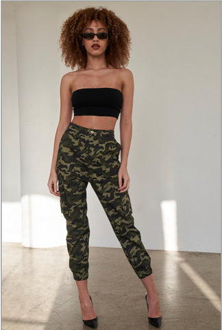 Olive Camouflage Cargo Jogger Pants