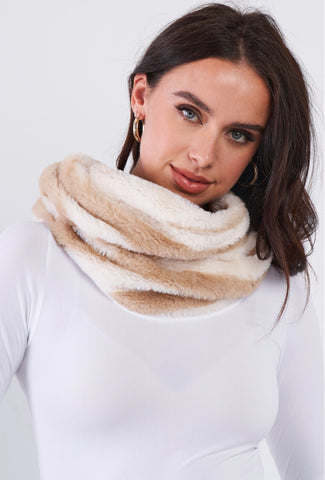 Everything Charizma Striped Fuzzy Faux Fur Twisted Infinity Scarf