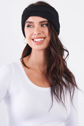 Everything Charizma Black Faux Shearling Fur Turban Twist Winter Headband