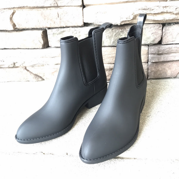 OLYMPIA - MATTE BLACK Low Heel All Weather Rain Chelsea Boots