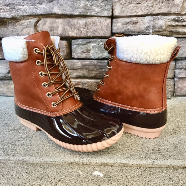 AKIRA - TAN Shearling All Weather Duck Boots