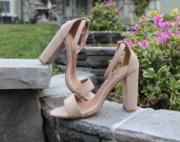 BEVERLY - TAUPE Suede Ankle Strap Open Toe Sandal Heels