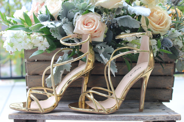 ALIA - GOLD Open Toe Strappy Criss-Cross High Heel Sandals - The Fairy Den