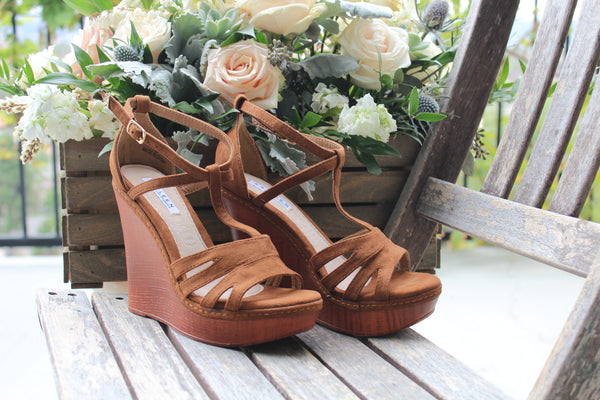 LYLA - Tan T-Strap Open Toe Wooden Wedge Sandals