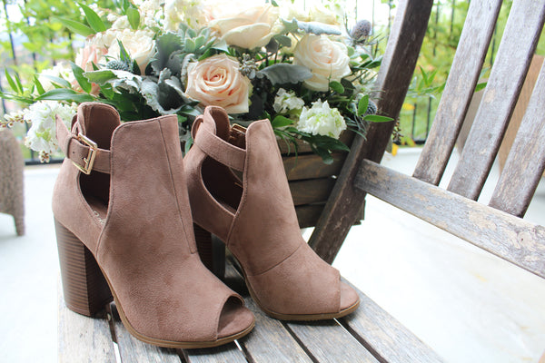 SISSY - TAUPE Peep Toe Cut Out Chunky Heel Ankle Bootie - The Fairy Den