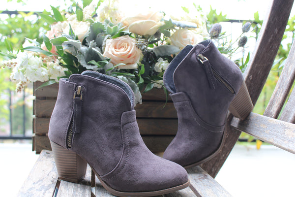 JOJO - GRAY Closed Toe Chunky Heel Ankle Bootie - The Fairy Den