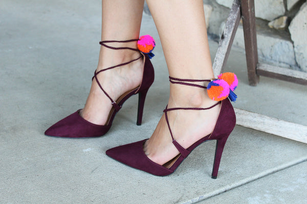 MYA - BURGUNDY Pointy Toe Lace-Up Pom Pom Stiletto Heels