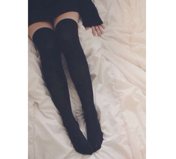 Black Cable Knit Over The Knee Boot Socks