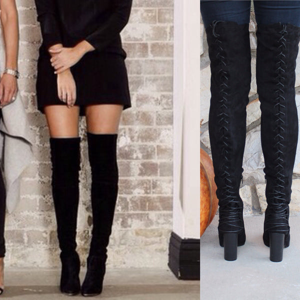 ANNABELLE - BLACK Lace Up Over The Knee Suede Boots