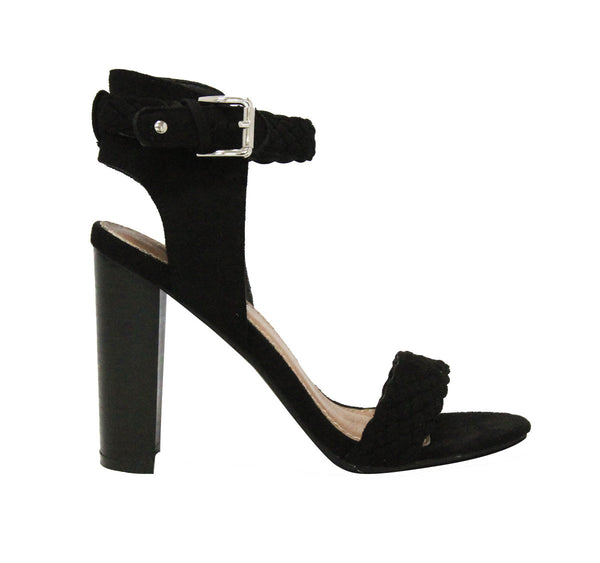 NISSA - BLACK Woven Stack Heel Single Sole Ankle Strap Sandal - The Fairy Den