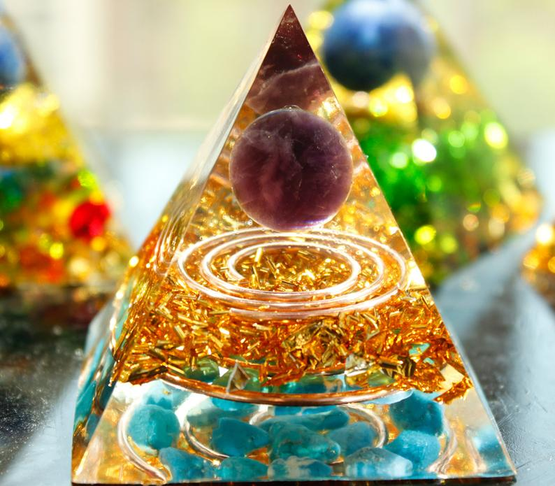 Double Golden Energy Circle Amethyst Sphere &Turquoise Orgone Pyramid