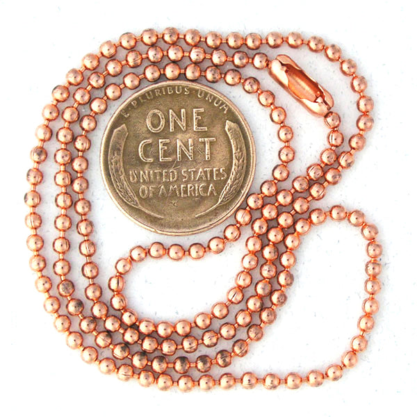 Copper Bead Chain Jewelry Set | 2.4mm Solid Copper Round Bead Necklace Chain And Bracelet SET22