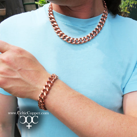"Copper Necklace Chain Set For Men Heavy Duty 18"" Curb Chain Necklace And Matching Bracelet SET7918"