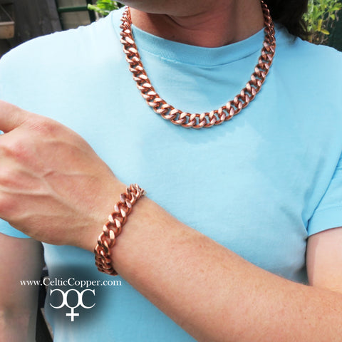 "Copper Necklace Chain Set For Men Heavy Duty 20"" Curb Chain Necklace And Matching Bracelet SET7920"