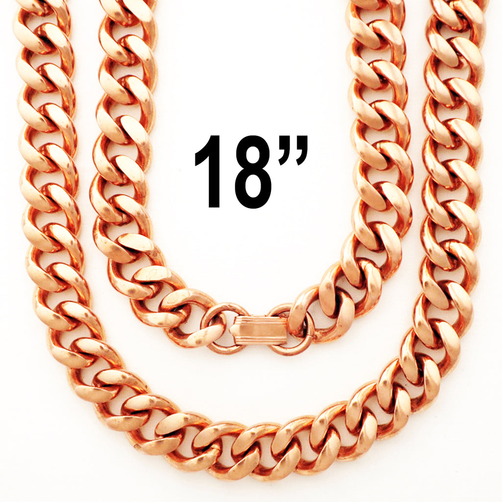 "Heavy-Duty 18-inch Copper Cuban Curb Chain Necklace NC79, 18"" Men's Solid Copper Necklace Chain - Extra Heavy"