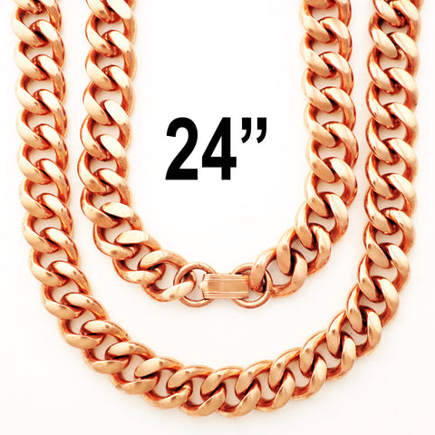 "Heavy-Duty 24-inch Copper Cuban Curb Chain Necklace NC79, 24"" Men's Solid Copper Necklace Chain - Extra Heavy"