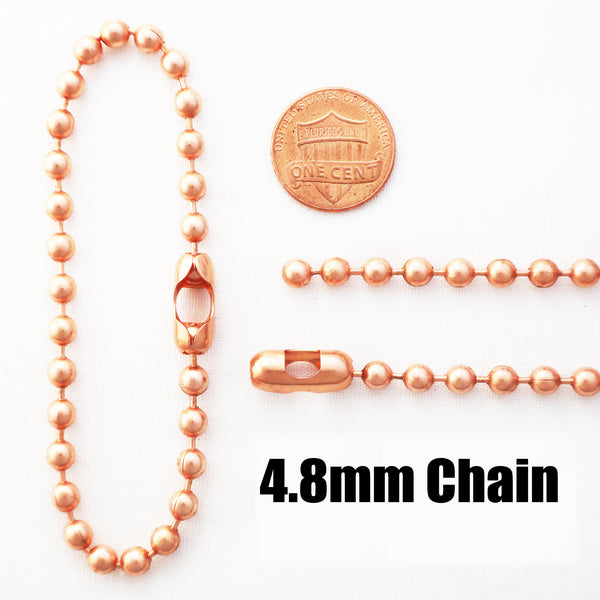 Copper Bead Chain Jewelry Set | 4.8mm Solid Copper Round Bead Necklace Chain And Bracelet SET24