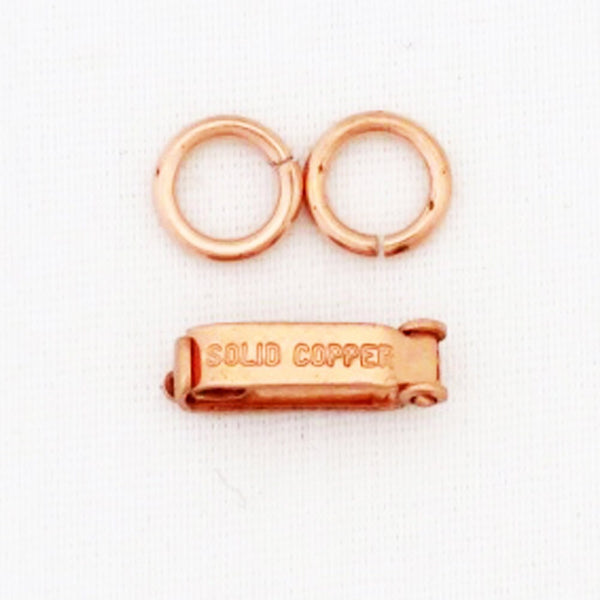 Medium Fold Over Copper Clasp Repair Kit 4x14 mm Single Solid Copper Clasp Kit with 2 Rings