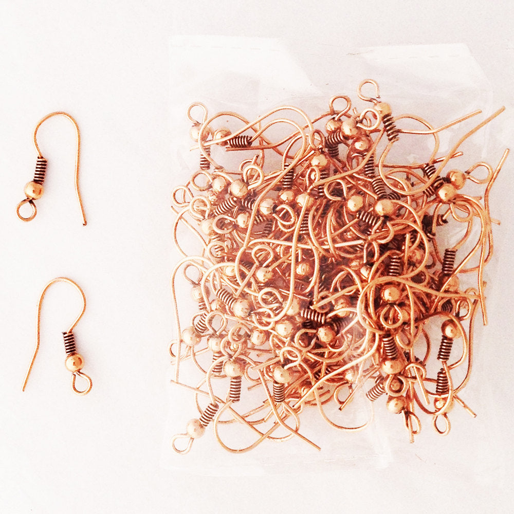 Solid Copper Earwires with Coil and Round Bead, Supplies for Jewelry Making and Jewelry Repair celtic-copper-jewelry.myshopify.com
