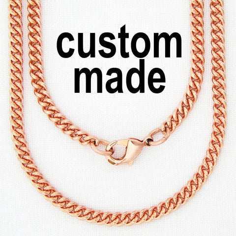 Custom Necklace Chain Copper Cuban Curb Chain Necklace NC71 Fine 3mm Solid Copper Chain For Pendants Custom Copper Chain Necklace
