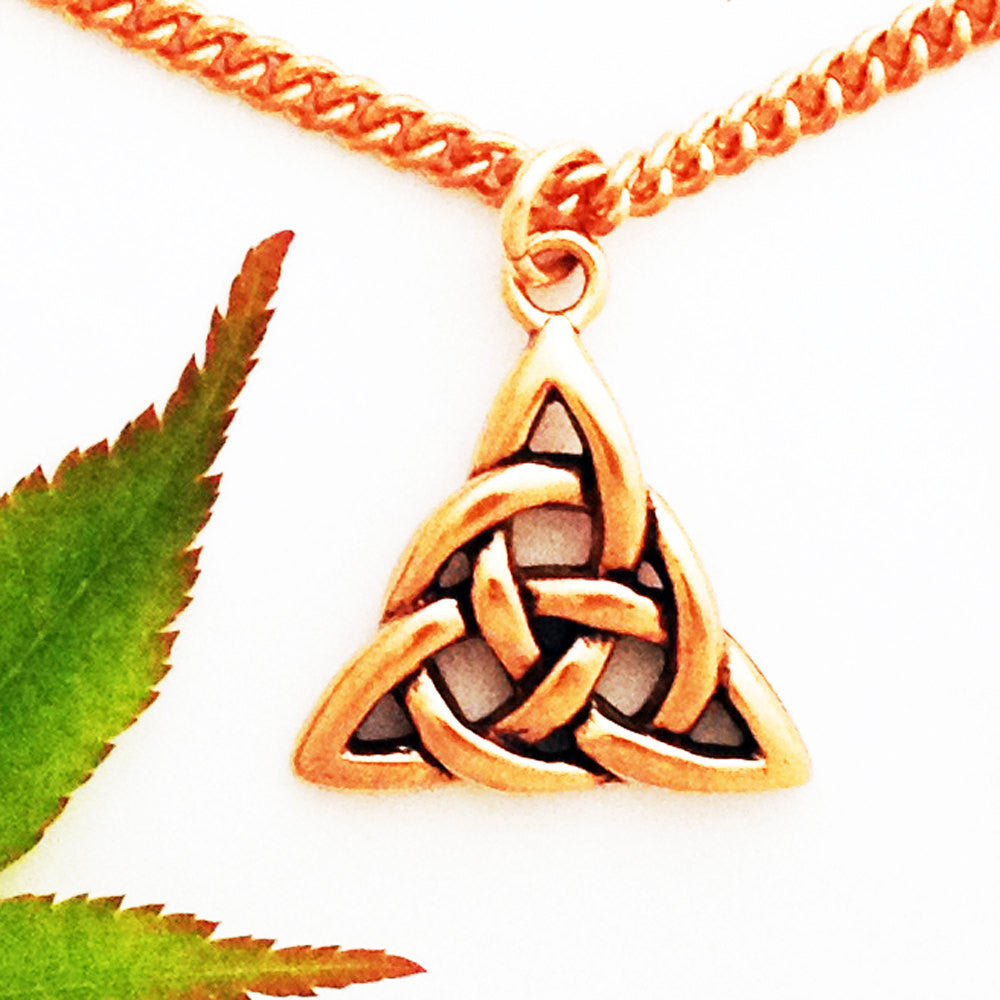 Norse Triquetra Copper Trinity Pendant Necklace PC63 Solid Copper Pendant Necklace on Copper Chain - Celtic Copper