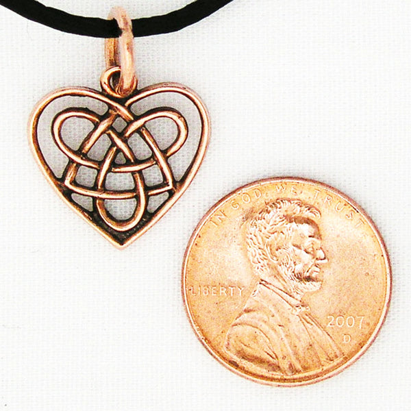 Celtic Knot Work Heart Charm Necklace PC02 Solid Copper Pendant Necklace on Copper Chain