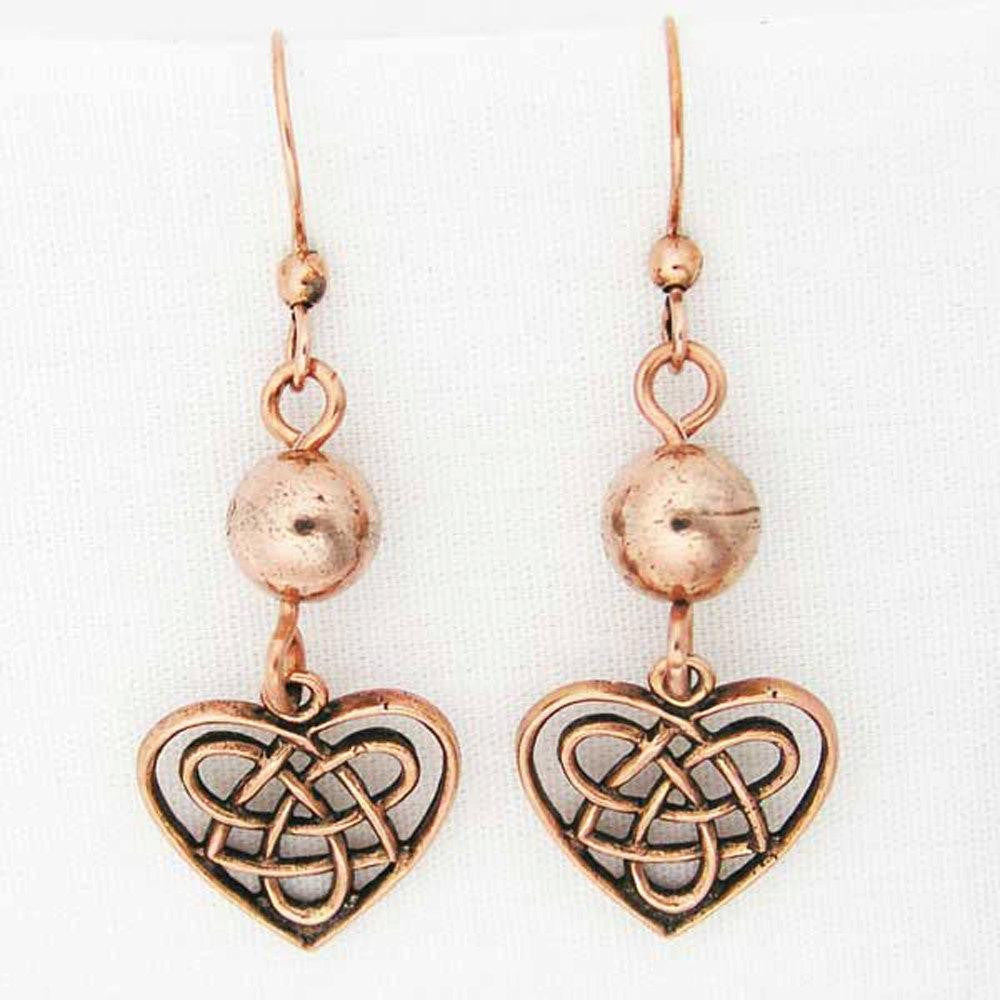 Celtic Knot Work Heart Shaped Earrings with Colorful 8mm Gemstone Bead ECD02X Solid Copper Earrings