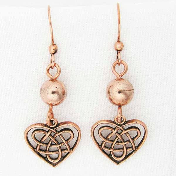 Celtic Knot Work Heart Shaped Earrings with Colorful 8mm Gemstone Bead ECD02X Solid Copper Earrings celtic-copper-jewelry.myshopify.com