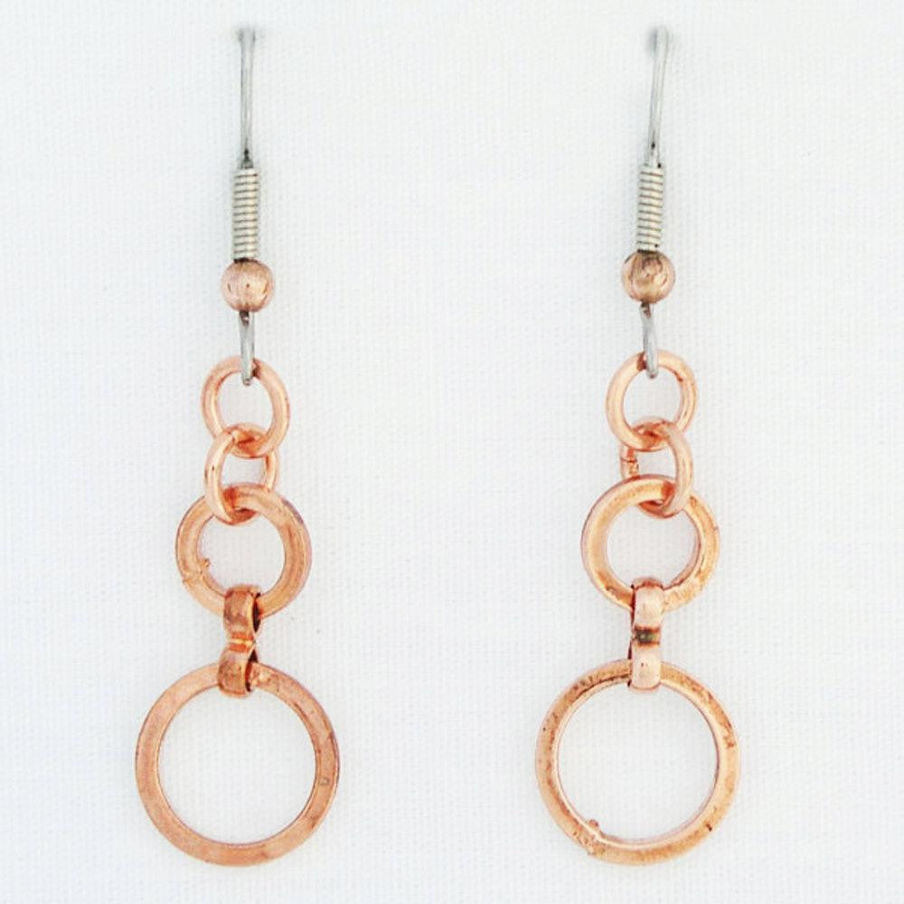 Cascade Copper Circle Earrings ECD61 Solid Copper Drop Earrings