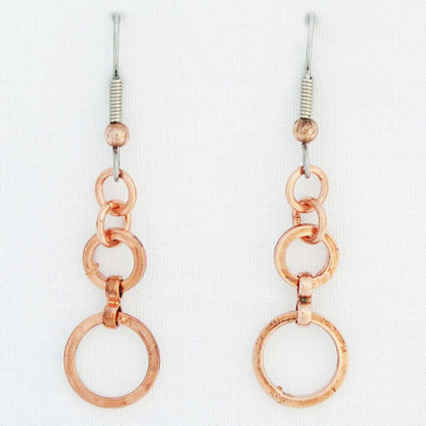 Cascade Copper 12mm Wide Circle Earrings ECD61 | Solid Copper Drop Earrings celtic-copper-jewelry.myshopify.com
