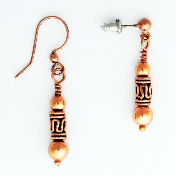 Copper Drop Earrings With Black Obsidian And Handmade Copper Beads ECPX Solid Copper Dangle Style Earrings