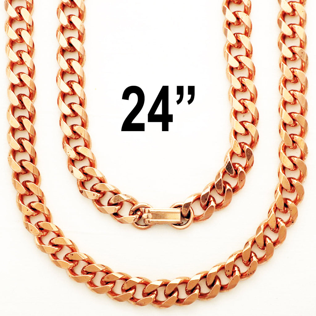 Solid Copper Necklace Chain Heavy Cuban Curb Chain Necklace NC76 Rugged 10mm Solid Copper Curb Chain Necklace 24 Inch Chain