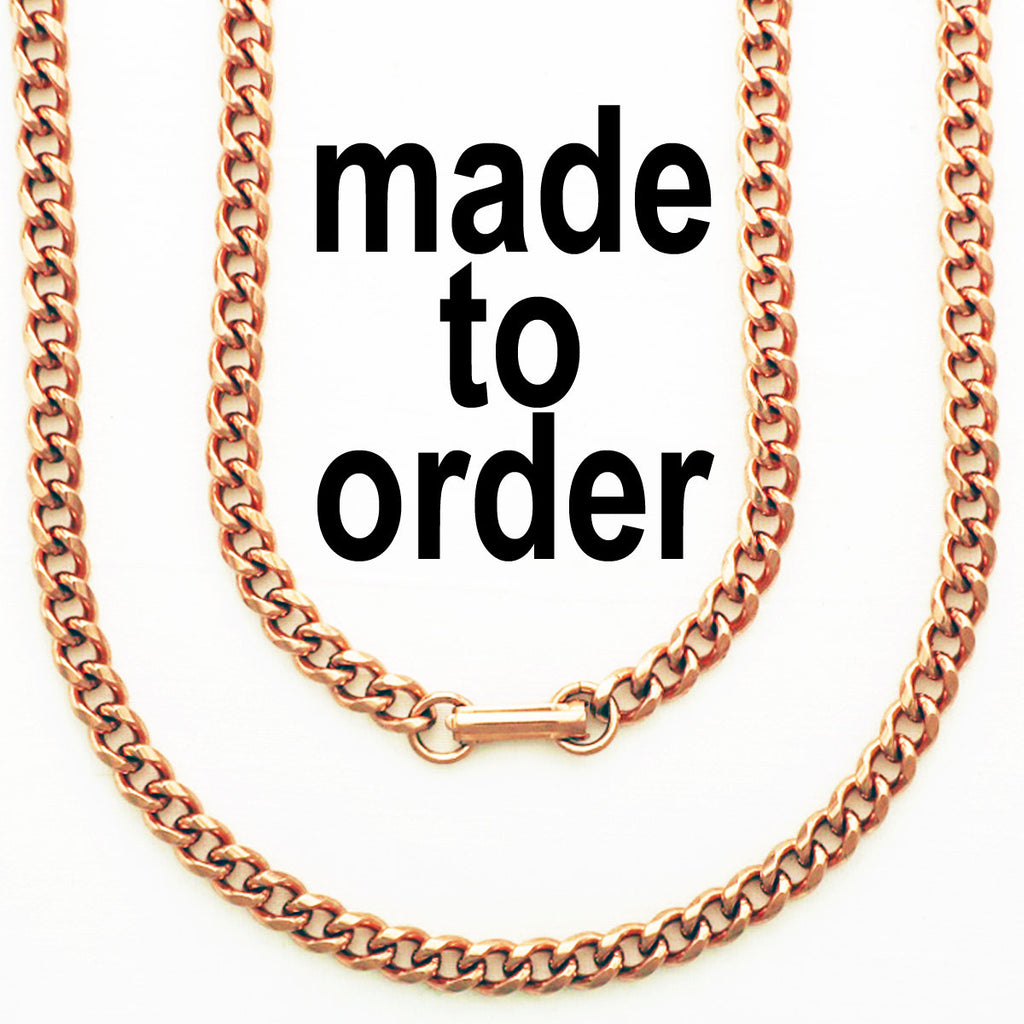 Custom Necklace Chain Copper Cuban Curb Chain Necklace NCC72 Medium 5mm Solid Copper Cuban Curb Chain Necklace Custom Sizes