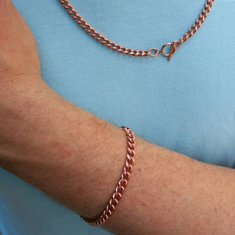 Copper Jewelry Chain Set Medium Cuban Curb Chains SET72, Men's 5mm Solid Copper Necklace & Matching Copper Bracelet Chain Set