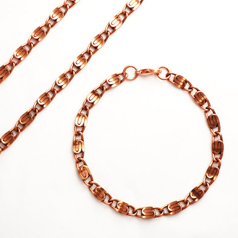 Copper Jewelry Set Of Celtic Scroll Chains SET66, 5 mm Solid Copper Necklace Chain And Matching Copper Bracelet Chain